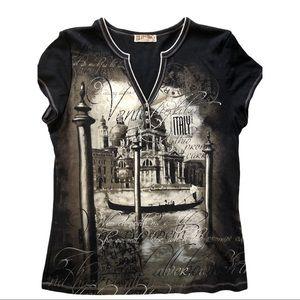 Blue Canyon V-neck short sleeve Venice Italy bling